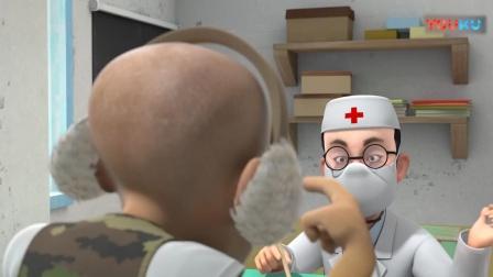 熊出没:光头强来看医生了,光头强让医生看看他的耳朵