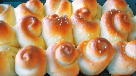 家庭版的蜂蜜小面包,金黄酥脆还拉丝,当做早餐,连吃7天都不腻
