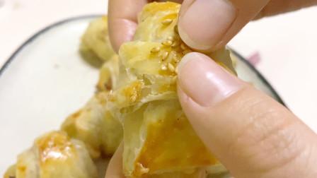 自己在家如何做牛角包手抓饼美食,这样的牛角包我一口能吃10个