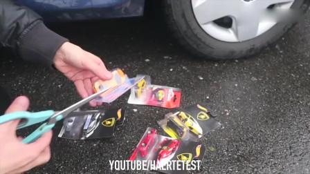 牛人使用汽车碾压玩具蛋西瓜玩具小跑车,请勿轻易模仿!
