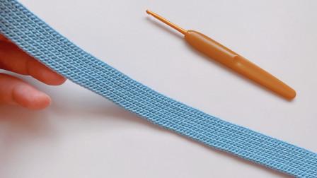 钩针编织,引拔针也好玩,辫子条纹织带,可以做包带,腰带
