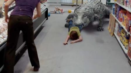 史前巨鳄3:鳄鱼上岸人类,闯进超市见人就咬