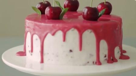 颜值满分的樱桃蛋糕制作过程!看着舒适又养眼啊