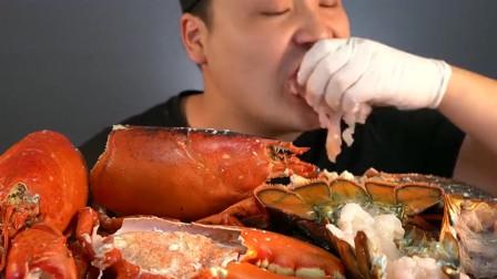 韩国小哥吃波龙配龙虾尾寿司,满满一桌真奢侈,不愧是大胃王吃播