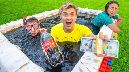 老外发起泡澡挑战,最后离开可乐池可获得10000美元,你猜谁赢了?
