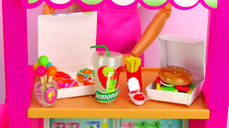 DIY迷你世界,手工自制,帮迷你芭比娃娃制作迷你食物,汉堡,甜甜圈,柠檬水和更多