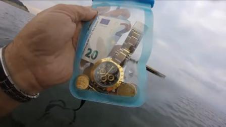 男子水下寻宝,意外发现劳力士价值12000美元,这下赚大了!