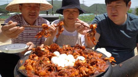 韩国农村家庭的一顿饭:香辣八爪鱼搭配煮鸡蛋,一家三口真幸福