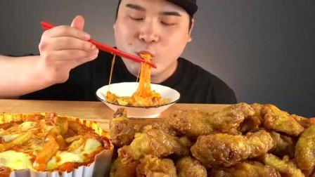 韩国吃播,蜂蜜炸鸡,炒年糕,芝士,吃得津津有味,让人垂涎欲滴!