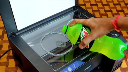 奇葩的老外将饮料倒在打印机上,打印机能进行打印吗?
