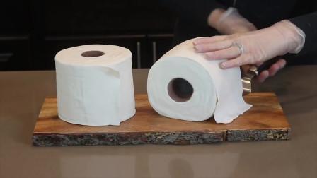 老外制作一卷的纸巾蛋糕,看似纸巾其实是蛋糕制作而成