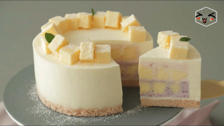 双莓酸奶芝士冰淇淋蛋糕,周末花上半天时间,家里娃爱吃极了