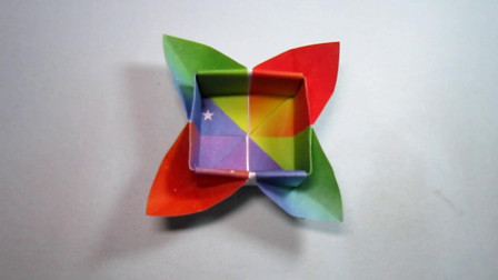 手工折纸,花朵方形收纳盒的折法,漂亮又实用超喜欢