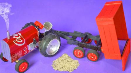 废弃易拉罐再利用,看看小哥是怎么把它改造成拖拉机模型的