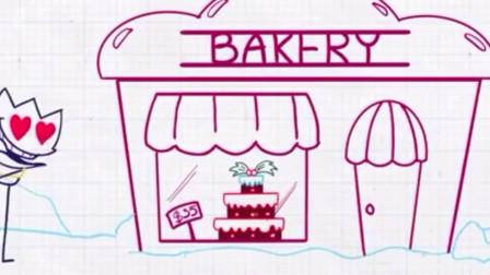 阿呆来到蛋糕店前是要买蛋糕给狗狗吗?铅笔画小人游戏