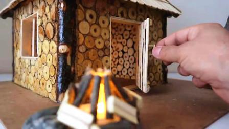 这才是真正的建筑高手,自制了一间小木屋,手艺精湛让人羡慕