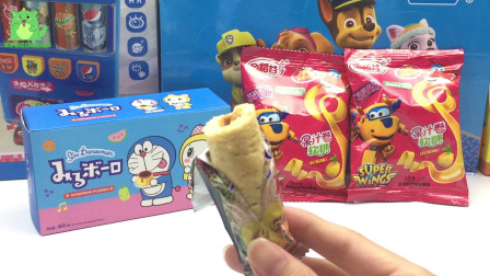 趣味零食,一起来试吃超级飞侠的能量棒,草莓芒果布丁,果汁卷软糖