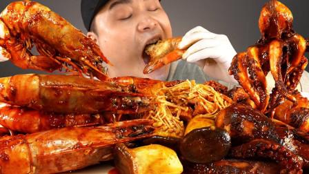 大胃王吃麻辣海鲜锅,大龙虾、章鱼大口吞太过瘾了,网友们直呼被套路了?