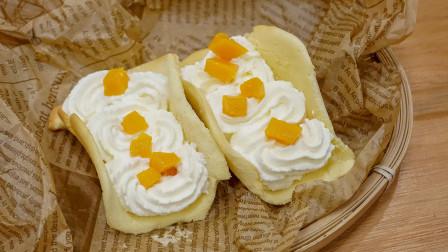网红甜品芒果抱抱卷蛋糕,简单好吃颜值高,一口奶油甜甜的恋爱味