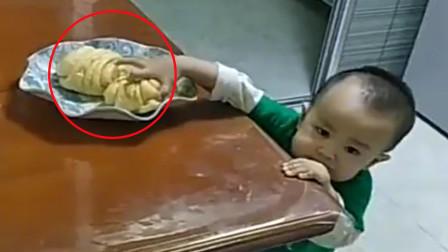 宝宝悄悄拿走大花卷,接下来的发生的一幕,令网友直言:是个老手