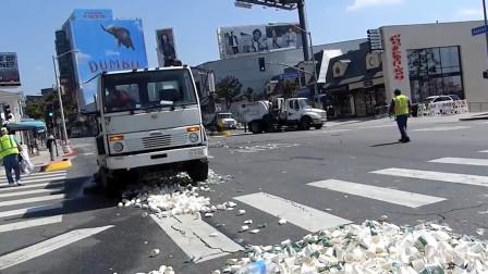 美国马拉松过后垃圾成堆,瞬间出动百辆环卫车,这外国人素质真高啊!