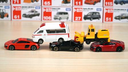 多美卡合金汽车开箱:救护车、压路机、跑车,儿童玩具车模型