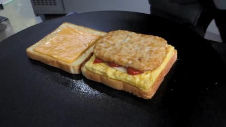 能吃出披萨味的三明治,芝士的香味齿颊留香,韩国街头小吃
