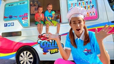 美国儿童时尚,在妈妈的冰淇淋车里玩游戏,太棒了