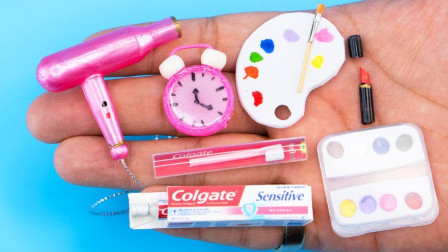 手工制作芭比娃娃生活用品:闹钟、牙刷、牙膏、水彩笔和颜料