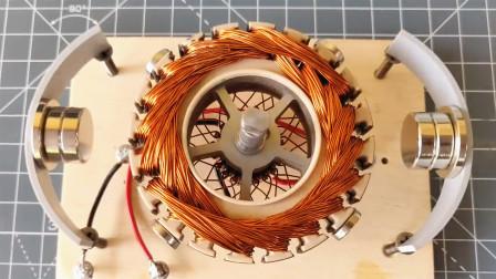 铜线圈两边放上磁铁,转动起来能发电吗?一起来见证下