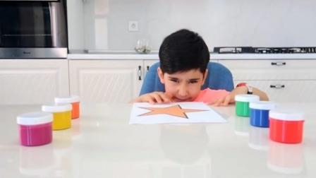美国儿童时尚,小正太画简笔画认识颜色,真棒