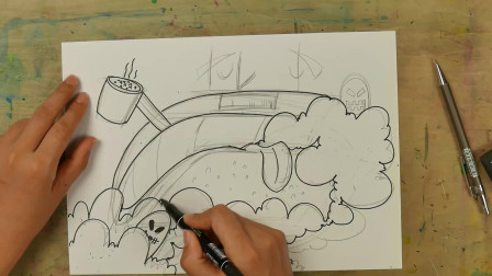 儿童画课分享:吞云吐雾的抽油烟机机