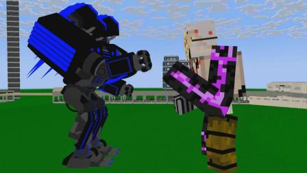 我的世界动画-#怪物学院#-机器人大战-wayne craftz