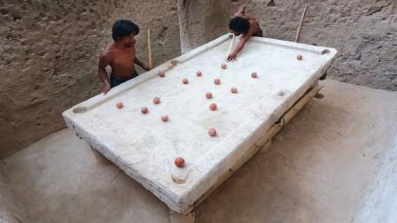 """农村牛人造出""""泥土桌球"""",玩两把后发现,丁俊晖估计都打不好!"""