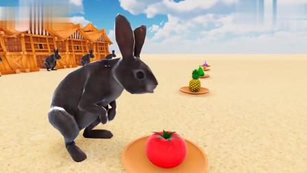 小灰兔吃彩色的水果变颜色学习认识颜色儿童英语早教启蒙动画