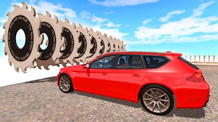用巨齿轮拦截高速行驶的汽车会怎样?3D动画演示,画面太刺激!