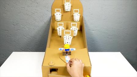老外用纸板制作篮球投篮游戏,而且还有弹射的按键