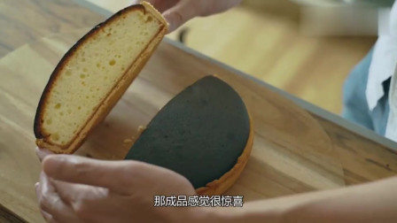 美女拿山羊奶酷做蛋糕,烤完外壳黑乎乎,切开流口水!
