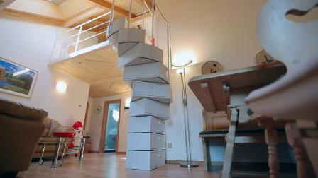 不占地的折叠旋转楼梯,平时是储物箱,想用时自动展开,太实用了