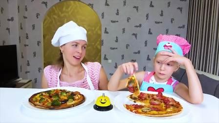 美国儿童时尚,小萝莉和妈妈做美味的披萨,太棒了