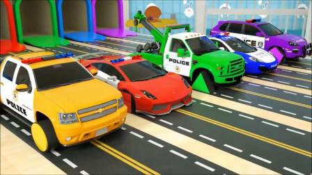 亲子早教动画按按钮给警车装上形状轮胎学颜色