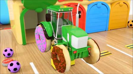 拖拉机装上汉堡包轮胎亲子早教动画学颜色