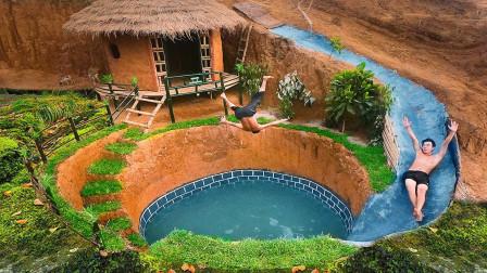 原始技术,野外建造豪华庇护所游泳池,网友:住着很舒服