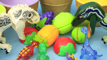 恐龙先生吃了水果后吐出来彩色方块