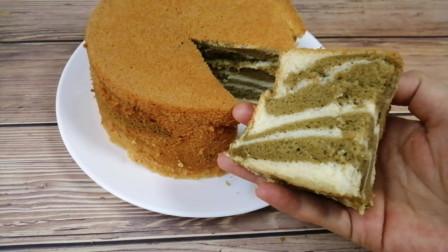 做抹茶戚风蛋糕时多加一个步骤,秒变斑马花纹,好看又好吃