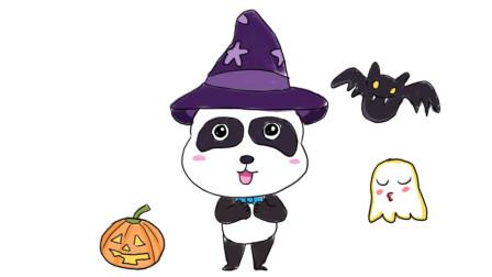宝宝巴士动画中的小熊猫奇奇卡通简笔画