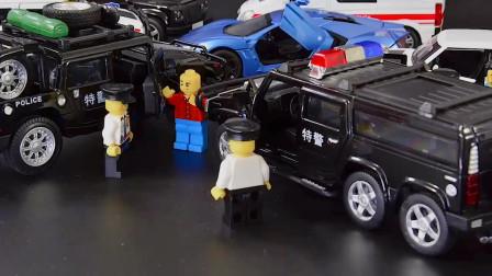 仿真六轮悍马110合金越野警车汽车模型摆件,男孩儿童玩具车