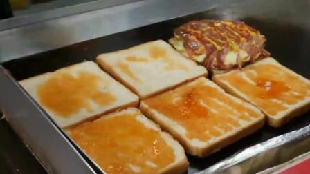 广东美食小摊,铁板上的早餐,芝士火腿吐司
