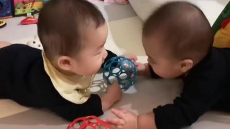 哥哥和弟弟还不会说话就吵架,火药味十足,最终弟弟的反应太逗了