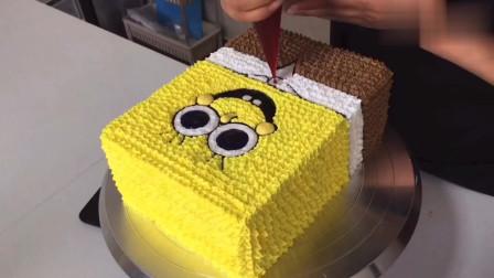 海绵宝宝蛋糕教程,做蛋糕其实也就这么简单,你学会了?